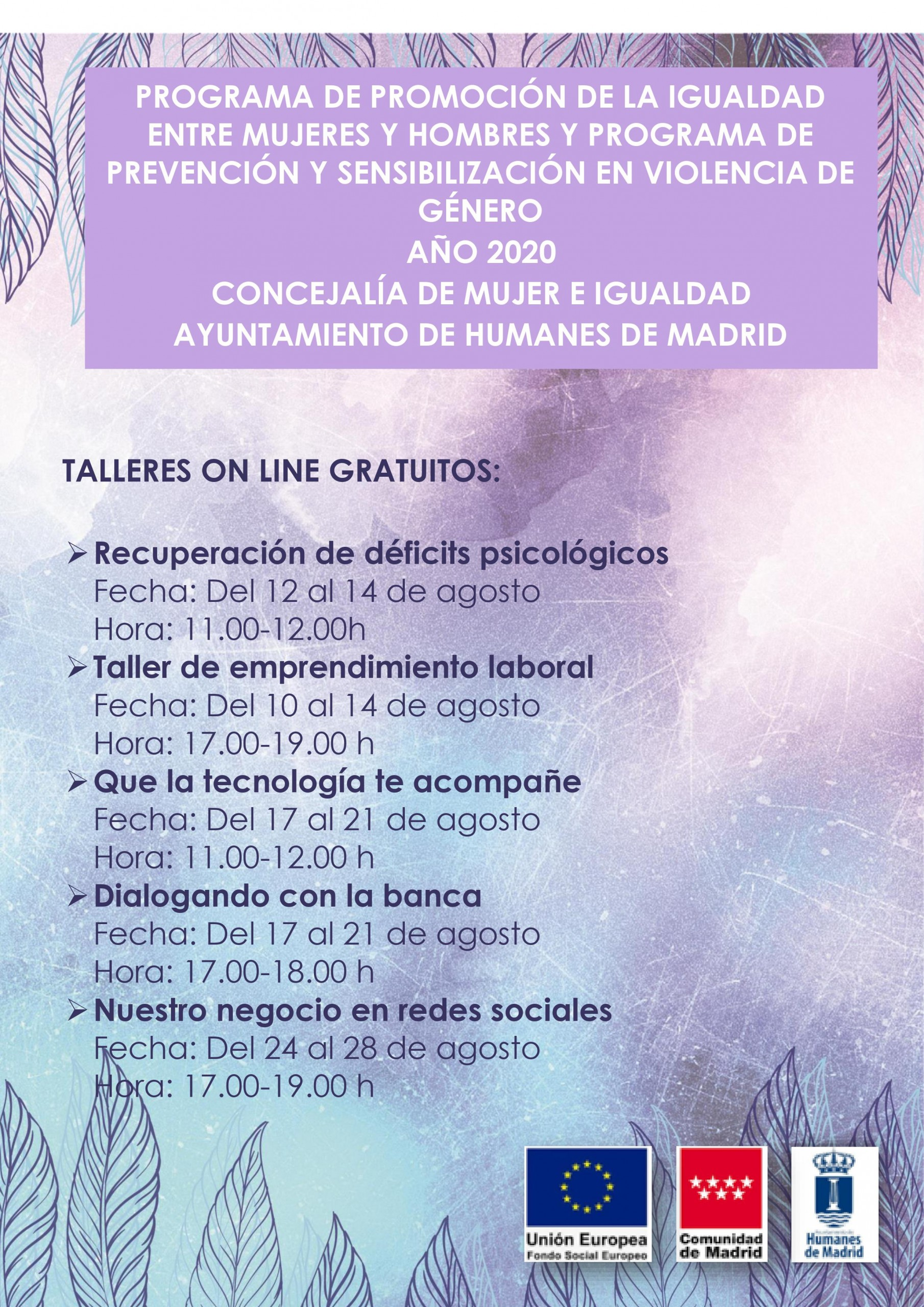 Cursos online gratuitos impartidos por la Concejalía de Mujer e Igualdad.