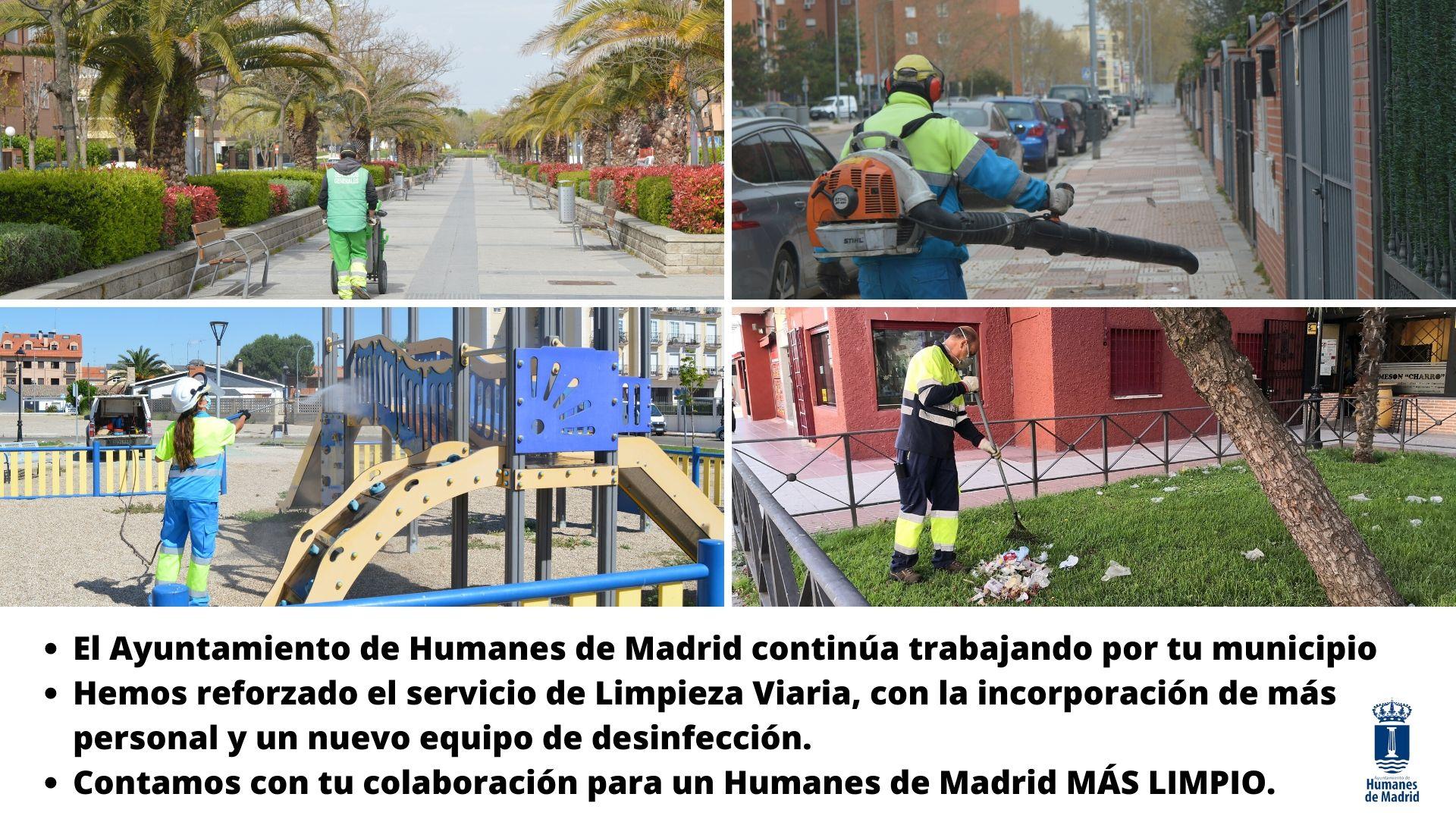 El Ayuntamiento de Humanes de Madrid ha reforzado el servicio de Limpieza Viaria, con la incorporación de más personal y un nuevo equipo de desinfección.
