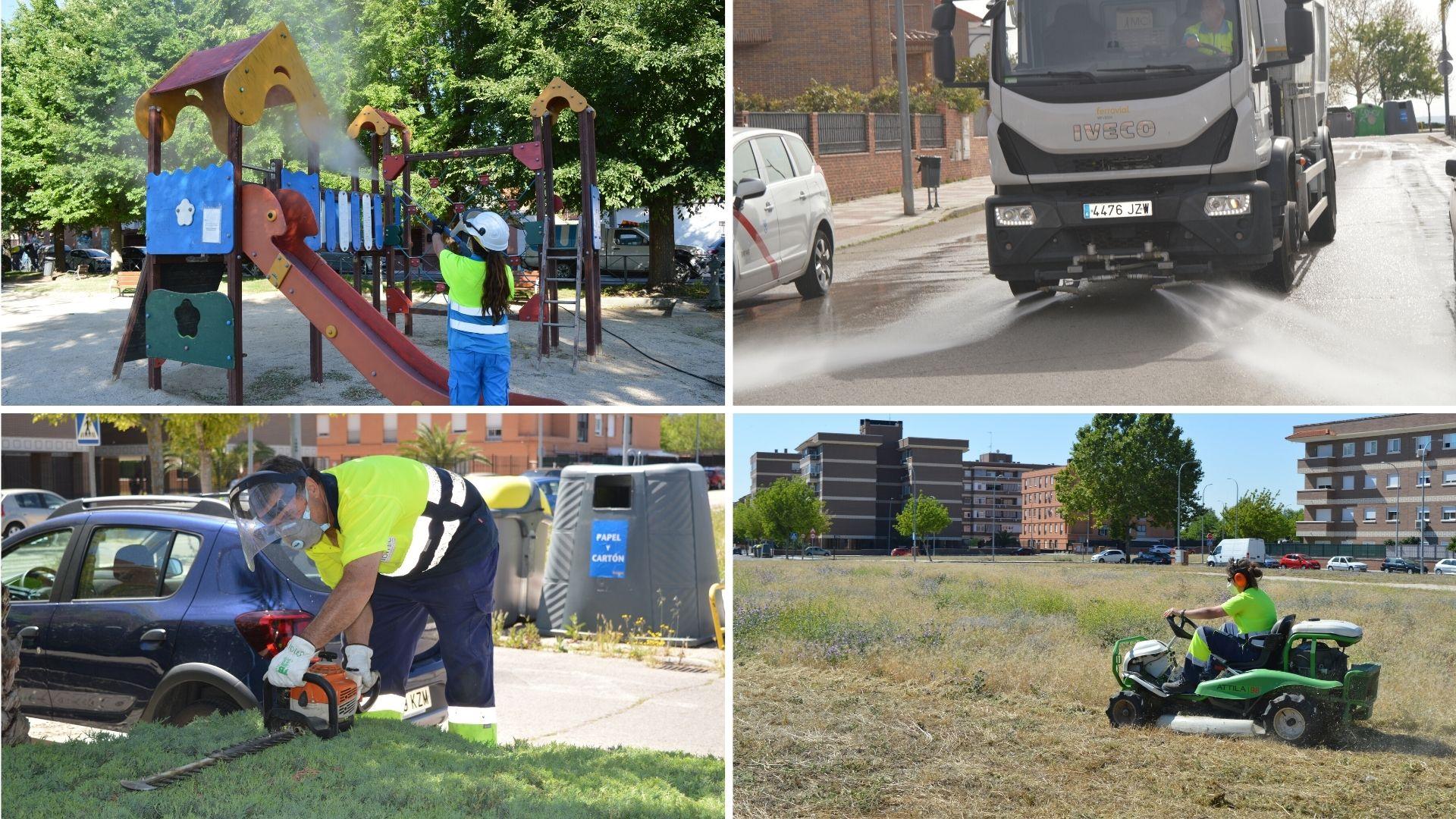 El Ayuntamiento de Humanes de Madrid intensifica el servicio de mantenimiento de zonas verdes y limpieza viaria urbana.