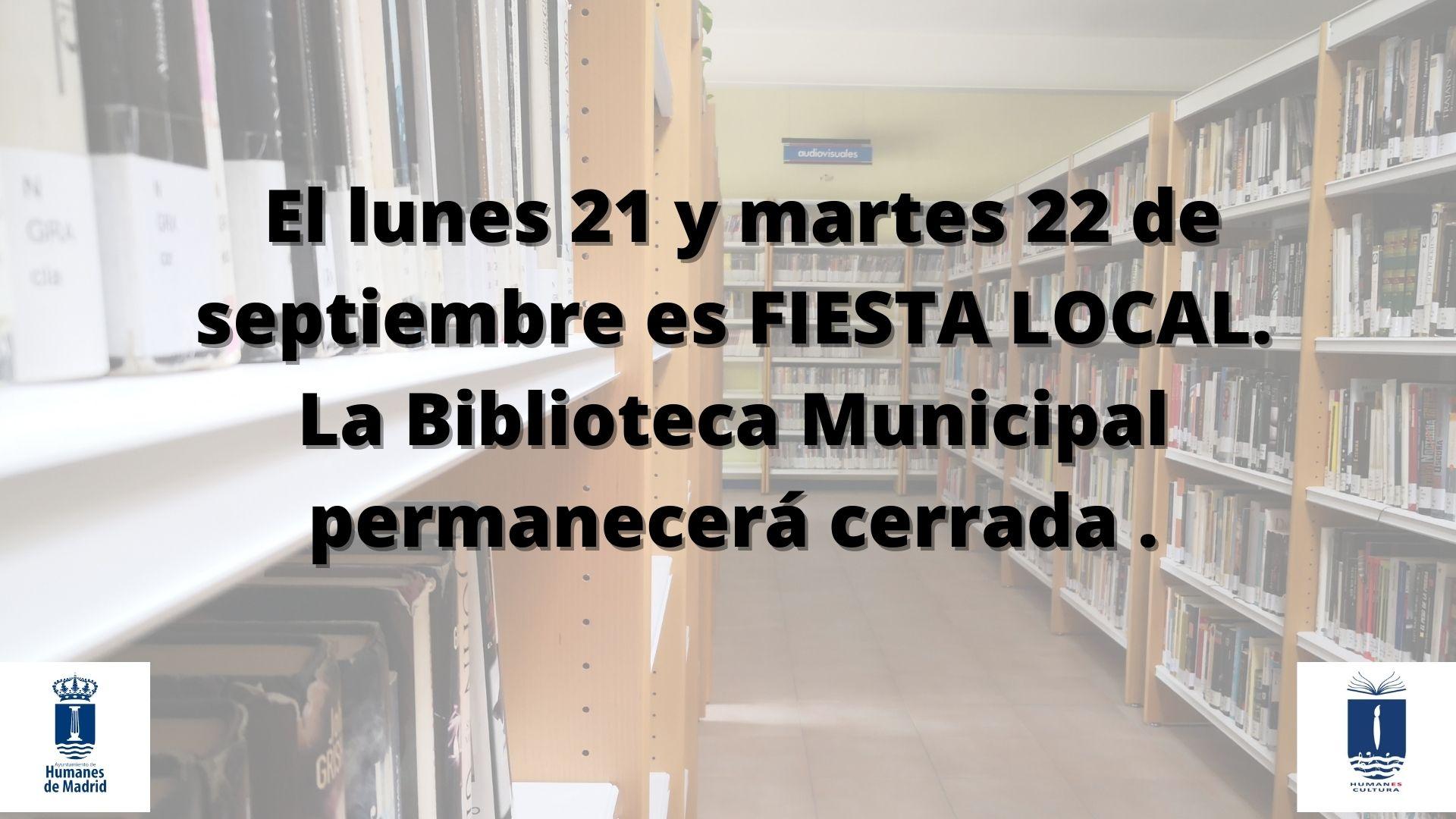 Es fiesta local, la Biblioteca municipal «Lorenzo Silva» cerrada el lunes 21 y 22 de septiembre.