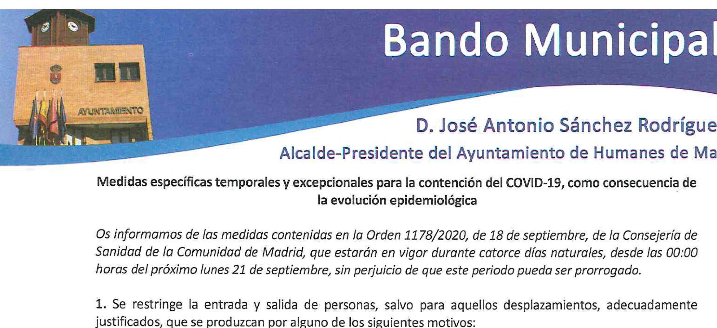 El alcalde de Humanes de Madrid dicta un bando con medidas para la contención del COVID-19 que entrarán en vigor el lunes 21 de septiembre a las 00.00 horas.