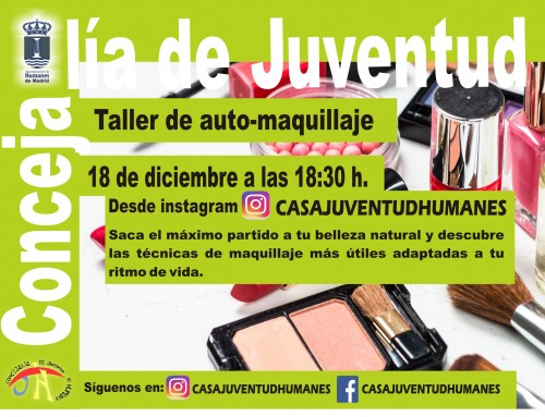 La Concejalía de Juventud imparte un taller gratuito de maquillaje online.