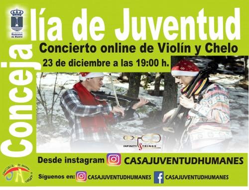 """La Concejalía de Juventud te invita a un concierto de Navidad online en directo ofrecido por el dúo """"Infinity Strings""""."""