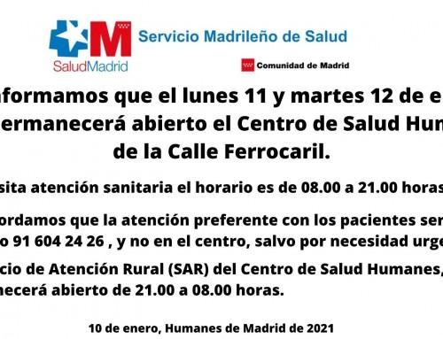 Mañana y el martes sólo permanecerá abierto el Centro de Salud Humanes.