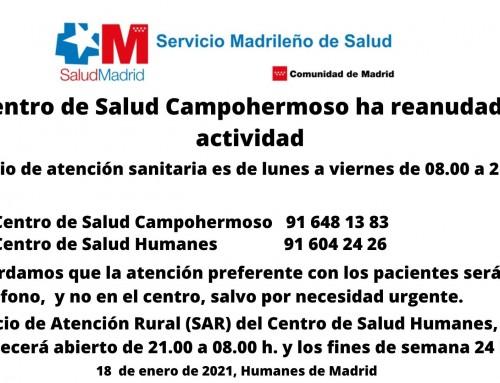 El centro de salud Campohermoso reanuda su actividad.