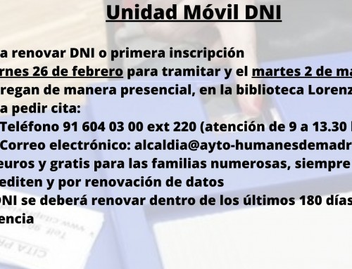 Una unidad móvil de DNI se desplazará a Humanes de Madrid el viernes 26 de febrero