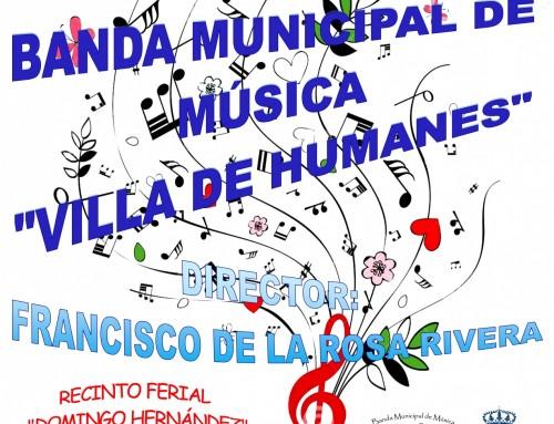La Banda de Música Municipal «Villa de Humanes de Madrid» ofrecerá un concierto de primavera en el recinto ferial Domingo Hernández.
