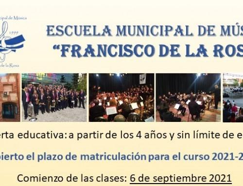 La Escuela municipal de música Francisco de la Rosa abre el plazo de matriculación para el curso 2021- 2022.
